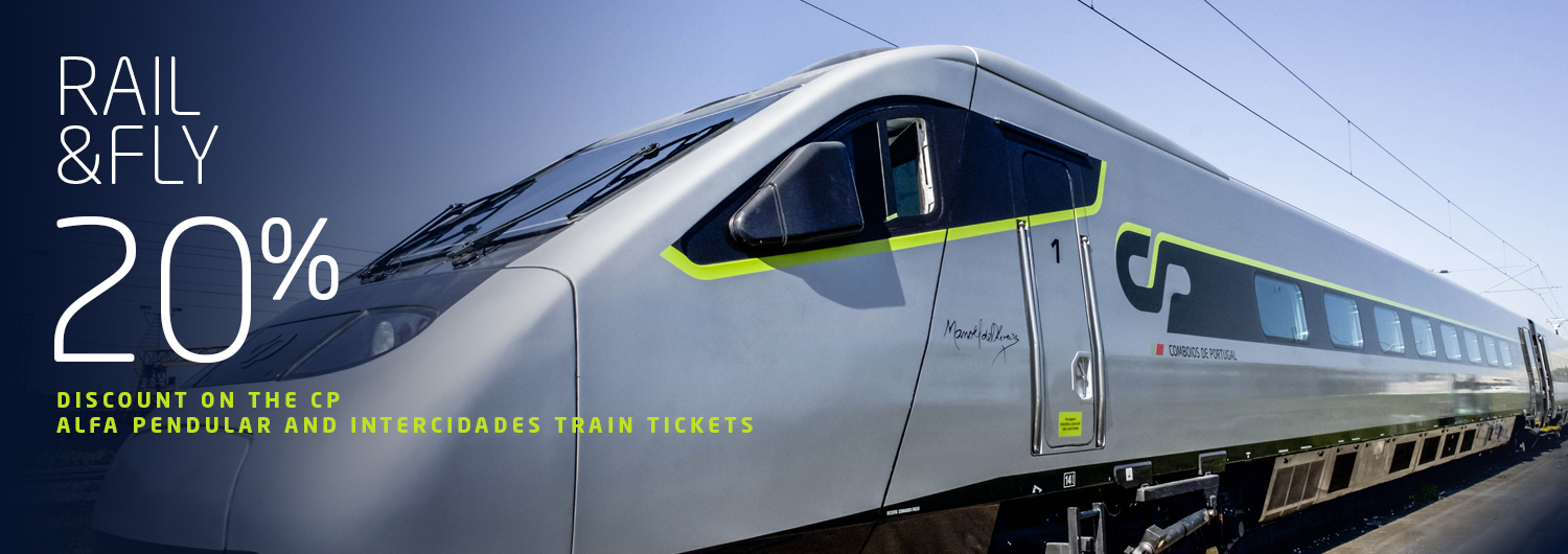 Rail&Fly | 20% discount on the CP Alfa Pendular and Intercidades train tickets