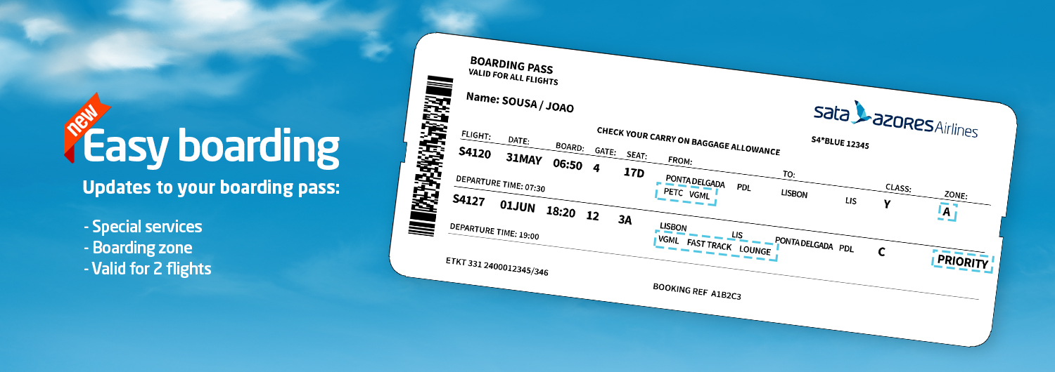 Easy boarding. Updates to your boarding pass: Special services; Boarding zone; Valid for 2 flights.