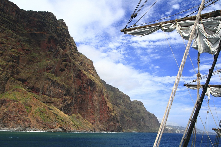 Madeira Island - View from the caravel (ship) over the hillside